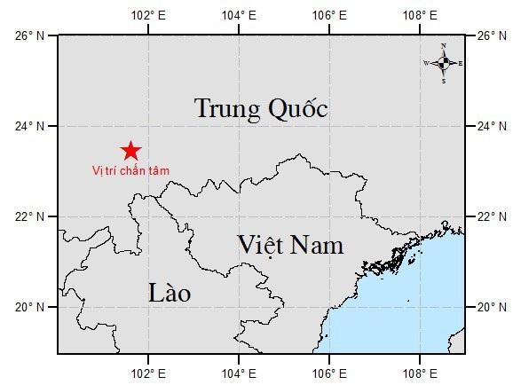 Bản đồ chấn tâm động đất (Ảnh: Viện Vật lý địa cầu)