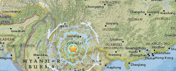 Động đất xảy ra tại tỉnh Vân Nam, tây nam Trung Quốc (Ảnh: USGS)