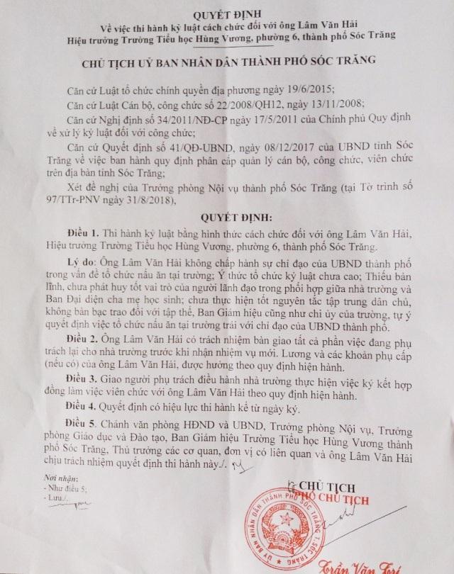 Ông Lâm Văn Hải với quyết định cách chức Hiệu trưởng của UBND TP Sóc Trăng.