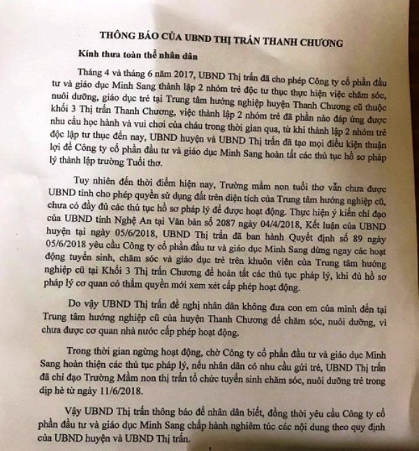 Trước đó, UBND thị trấn Thanh Chương thông báo về việc tạm dừng hoạt động Cơ sở Mầm non Tuổi thơ, các cô giáo đã có hành động quỳ gối để tiếp tục được dạy học.