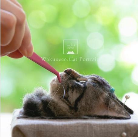 Cẩn thận gắn râu cho mèo