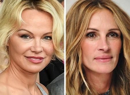 """Cùng sinh năm 1967 nhưng Pamela Anderson trông lại """"dừ"""" hơn Julia Roberts rất nhiều dù đã cố tìm đến dao kéo"""