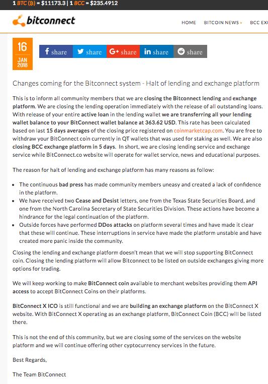 Thông báo chính thức của BitConnect sau khi nhận 2 lệnh đình chỉ liên tiếp.