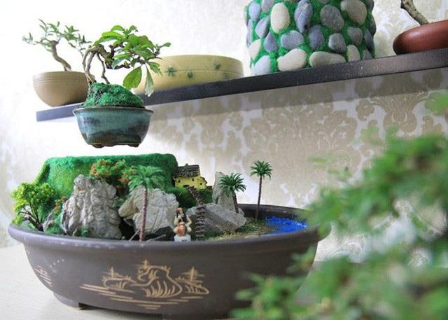 """Nhờ hình dáng độc, lạ, có thể bay lơ lửng và xoay tròn trên không nên những chậu cây cảnh bonsai bay (air bonsai) tạo thành cơn """"sốt"""" và được nhiều người săn lùng làm quà biếu dịp Tết Mậu Tuất năm nay. So với những mặt hàng khác, những chậu bonsai bay có giá khá rẻ dao động từ 2-5 triệu đồng/ bộ tùy khối lượng bay và tiểu cảnh kèm theo. Tuy nhiên, do hạn chế về trọng lượng nên chậu bonsai khá nhỏ và chủ yếu sử dụng những cây như: xương rồng, linh sam, sen đá… Ảnh: H.T"""