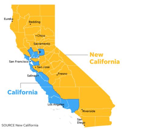 Đề xuất tách bang California của nhóm sáng kiến New California (Ảnh: USA Today)