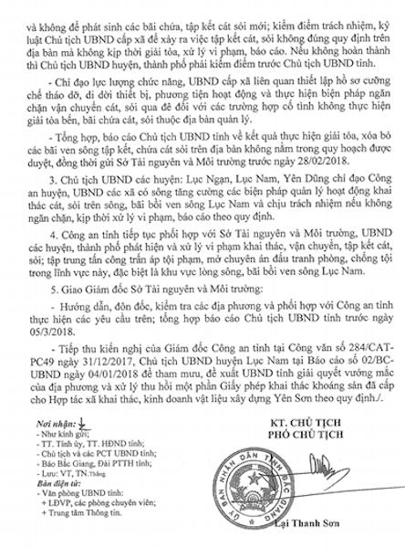 Nếu không hoàn thành nhiệm vụ ngăn chặn tình trạng sai phạm liên quan tài nguyên cát, sỏi thì Chủ tịch UBND huyện, thành phố phải kiểm điểm trước Chủ tịch UBND tỉnh Bắc Giang.