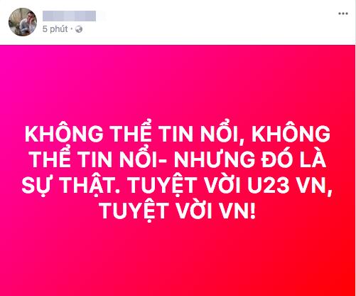 """U23 Việt Nam chiến thắng, mạng xã hội phủ kín lời chúc các """"anh hùng"""" - 1"""