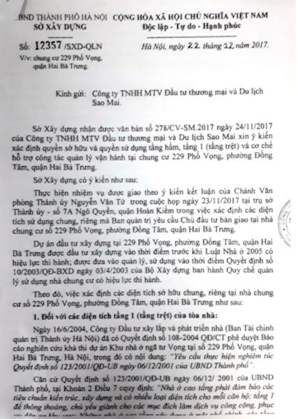 Cư dân chung cư 229 phố Vọng phản đối kết luận của Sở Xây dựng TP Hà Nội! - 1
