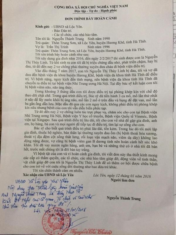 Lá đơn cầu cứu của gia đình anh Trung