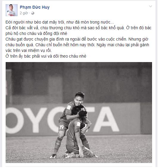 Đức Huy chia sẻ về nỗi đau trên trang Facebook cá nhân