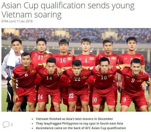 Bài viết về sự thăng tiến của đội tuyển Việt Nam trên trang chủ FIFA