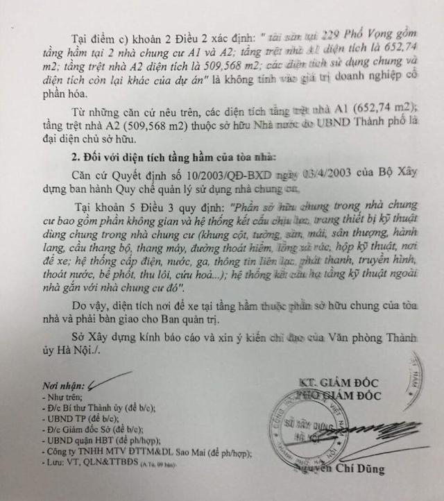 Sở Xây dựng Hà Nội kết luận diện tích nơi để xe tại tầng hầm thuộc phần sở hữu chung của tòa nhà và phải bàn giao cho Ban Quản trị.