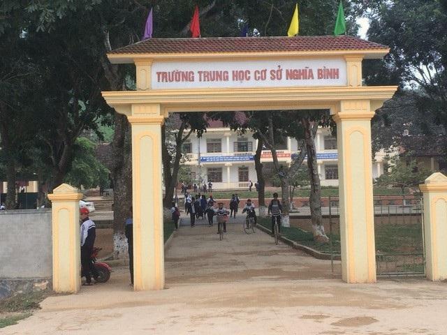 Trường THCS xã Nghĩa Bình, nơi được cho là xây dựng trên vùng đất nhiễm thuốc trừ sâu.
