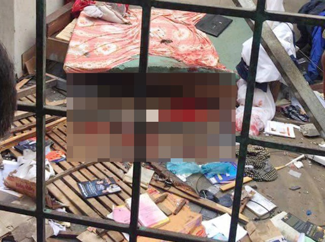 Hiện trường vụ nổ khiến Phạm Bá Sơn trọng thương (ảnh T.Nga)