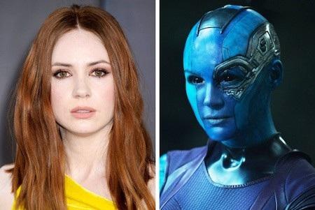"""Tưởng như chẳng có gì liên quan đến nhau nhưng thực chất, mỹ nhân Karen Gillan chính là người ở phía sau lớp hoá trang lạnh lùng, vô cảm của nhân vật Nebula trong bom tấn """"Guardians of the Galaxy"""""""