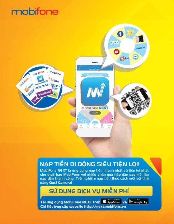 """(Khách hàng có thể lựa chọn cách nạp thẻ qua ứng dụng MobiFone NEXT để nhận mã tham gia chương trình """"Nạp càng nhiều. trúng càng lớn"""""""