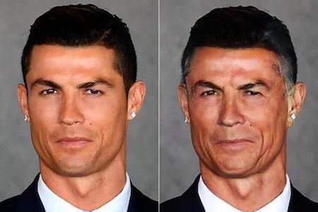 """Thành thực mà nói, Cristiano Ronaldo khi chạm mốc tuổi thất tuần trông không thay đổi quá nhiều. Mái tóc hoa râm càng khiến cho CR7 thêm phần lịch lãm, đạo mạo. Có lẽ, các thuật toán đã tính tới cả khả năng chăm chút, quan tâm cho ngoại hình hết sức kĩ càng của C.Ronaldo và kết quả cho ra một """"cụ ông"""" CR7 vẫn còn khá trẻ trung."""