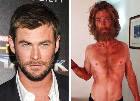 """Chris Hemsworth đã rất nghiêm túc tự """"hành xác"""" để có được tạo hình đói khổ đúng với yêu cầu kịch bản khi thể hiện nhân vật Owen Chase trong phim """"In the Heart of the Sea"""""""