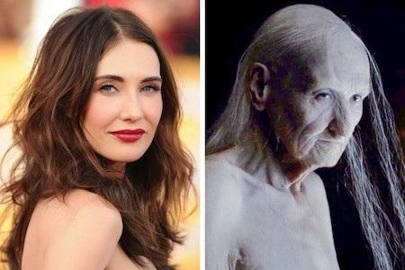 """Carice van Houten vốn xinh đẹp, quyến rũ là thế nên khi người đẹp này thể hiện màn lột xác ấn tượng, để lộ nguyên hình của nhân vật Melisandre trong """"Game of Thrones"""", rất nhiều khán giả đã phải sững sờ kinh hãi"""