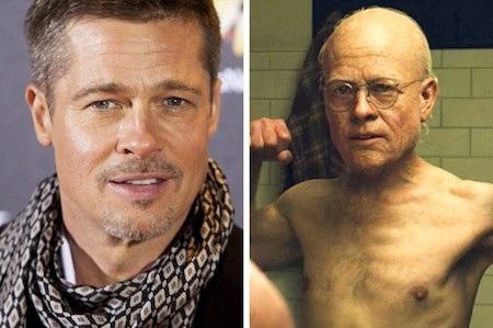 """Đẹp trai, lãng tử là thế nhưng Brad Pitt cũng có lúc trở nên già nua, còm cõi khi hoá thân thành Benjamin Button trong phim """"The curious case of Benjamin Button"""""""