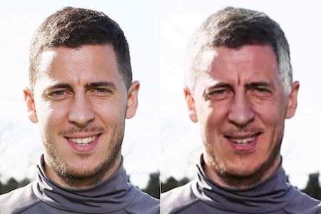 """Còn đây là Eden Hazard khi 70 tuổi. Trông ánh mắt của chàng tiền vệ người Bỉ có phần đã mỏi mệt nhưng nụ cười vui vẻ lại giúp cho Hazard """"già"""" có thêm nét phúc hậu."""