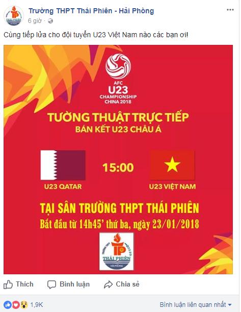Thông báo của Trường THPT Thái Phiên, Hải Phòng