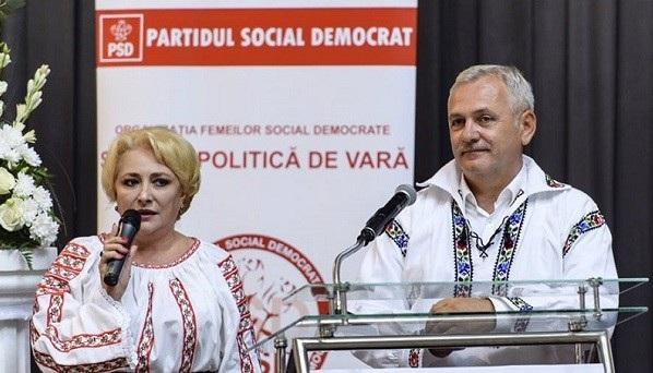 Bà Viorica Dancila (trái) và lãnh đạo đảng Dân chủ Xã hội Romania (PSD) Liviu Dragnea. (Ảnh: Urnucustiri)