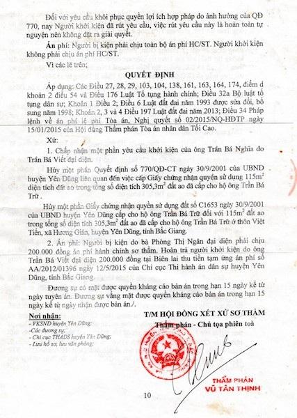 TAND huyện Yên Dũng xử người dân thắng kiện UBND huyện Yên Dũng.