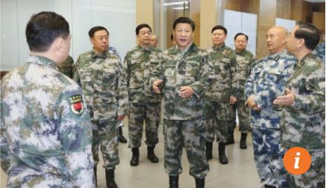 Chủ tịch Tập Cận Bình mặc quân phục tới thăm Trung tâm Tác chiến chỉ huy năm 2016 (Ảnh: News.china.com)