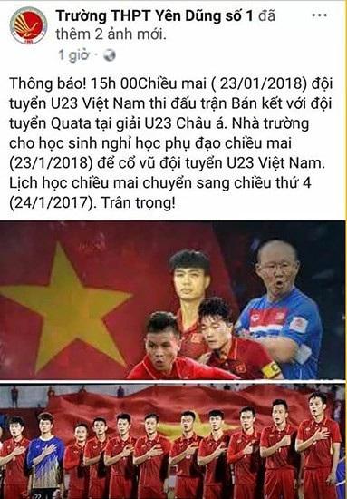 Thông báo nghỉ học ngoại khóa của Trường THPT Yên Dũng, số 1 Bắc Giang để học sinh và giáo viên cổ vũ bóng đá.