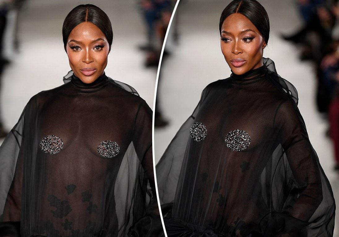 Siêu mẫu Naomi Campbell ngực trần catwalk ở tuổi 48
