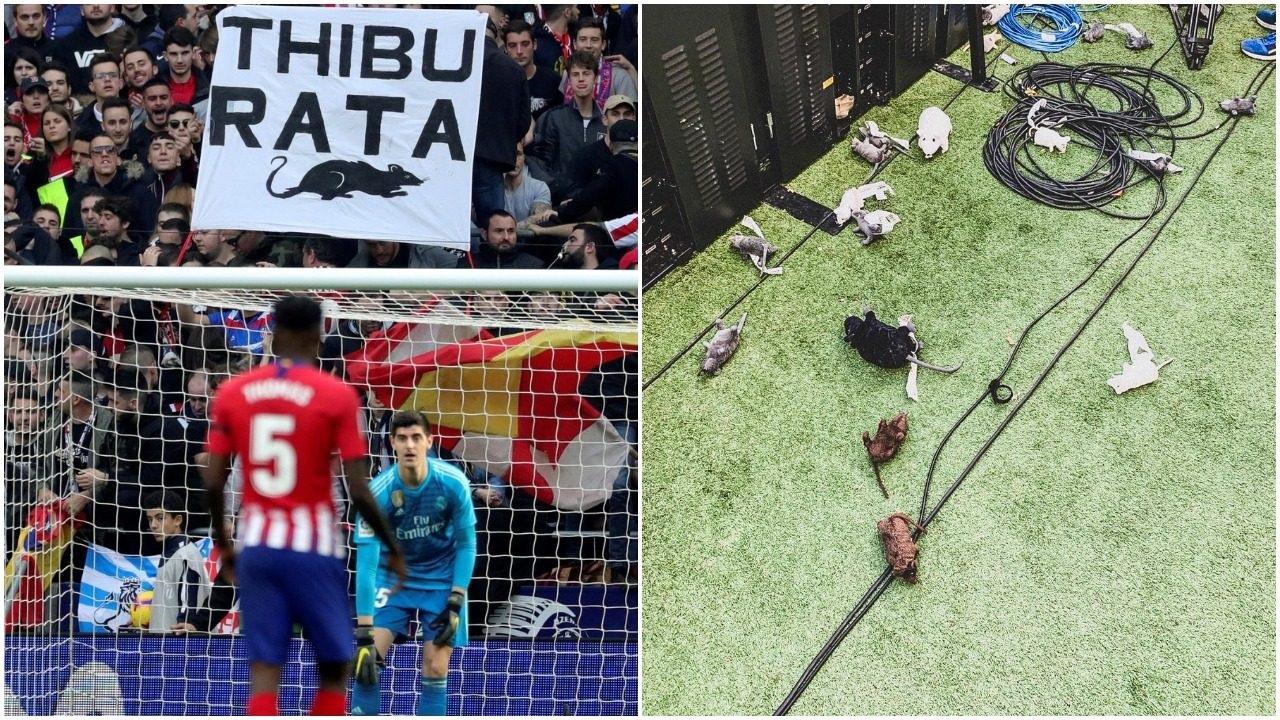 Courtois bị CĐV Atletico Madrid tấn công bằng… chuột bông