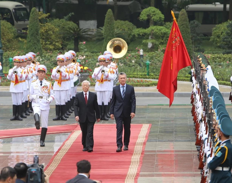 Tổng Bí thư, Chủ tịch nước Nguyễn Phú Trọng chủ trì lễ đón Tổng thống Argentina