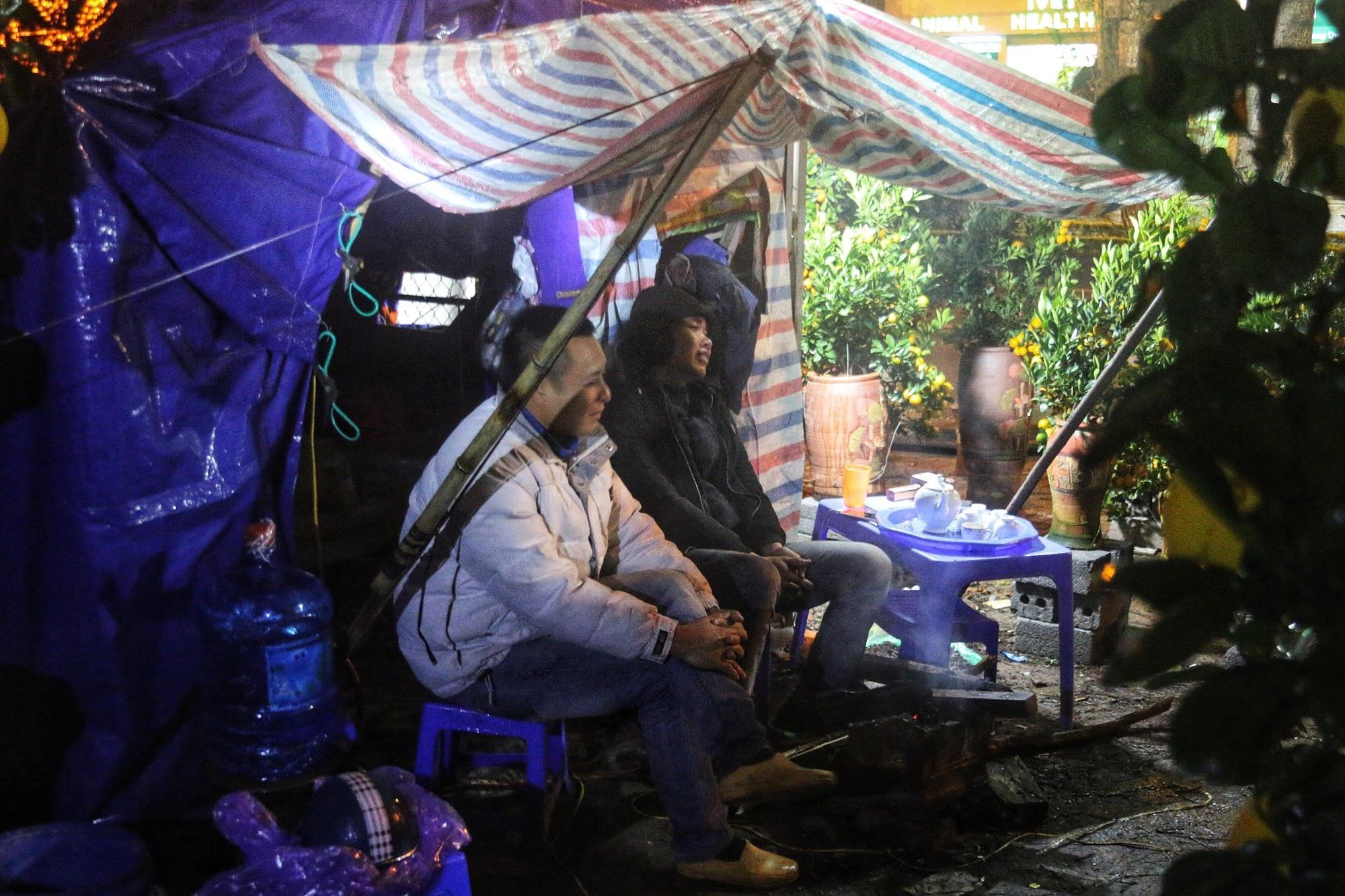 Lo mất trộm, người Hà Nội dựng lều đốt lửa trông đào xuyên đêm - Ảnh 6.