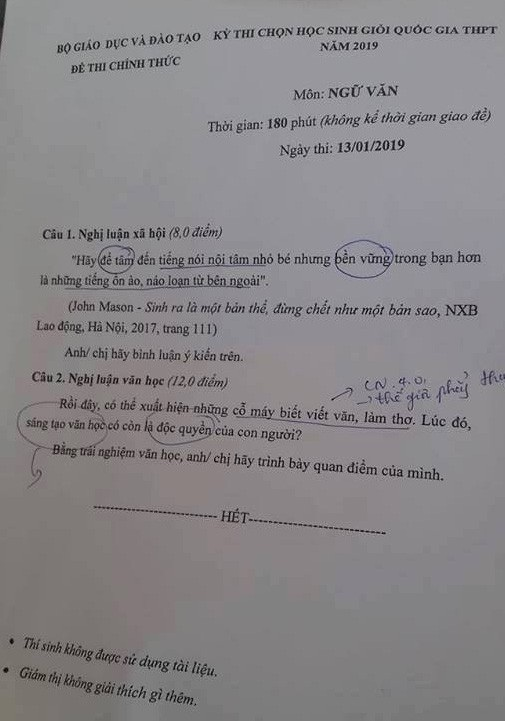 Sáng tạo văn chương thời 4.0 vào đề thi HS giỏi quốc gia - Ảnh 1.