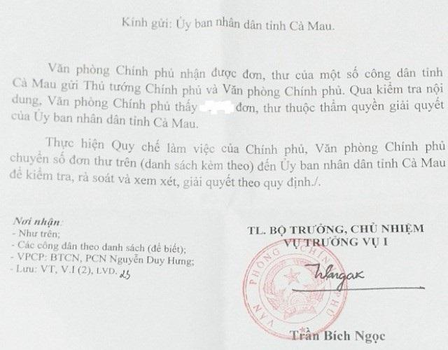 Văn phòng Chính phủ yêu cầu tỉnh Cà Mau giải quyết khiếu nại của người dân! - Ảnh 1.