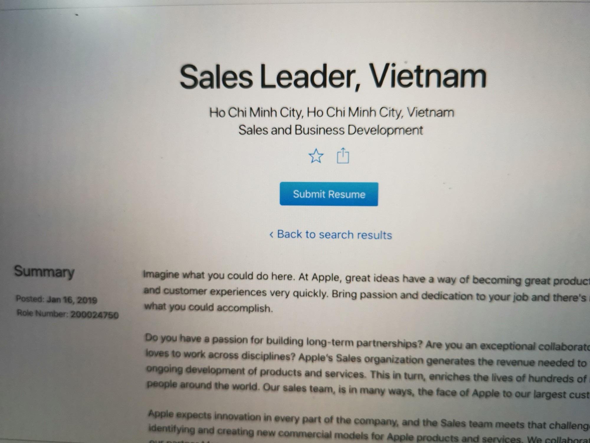 Apple tuyển giám đốc kinh doanh ở Việt Nam để quyết giành lại thị phần - Ảnh 1.