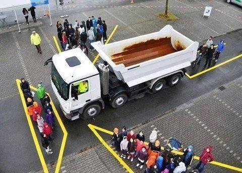 Các vị trí mà gương chiếu hậu trên xe tải cỡ lớn không thể quan sát hết.