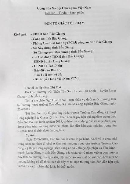3 cháu bé chết đuối oan ức tại Bắc Giang: Khởi tố hay không khởi tố vụ án? - Ảnh 2.