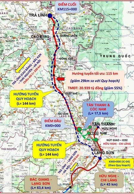 Tuyến dự án rút ngắn xuống 115km (màu đỏ) so với toàn tuyến theo quy hoạch 144 km trước đó (màu xanh)