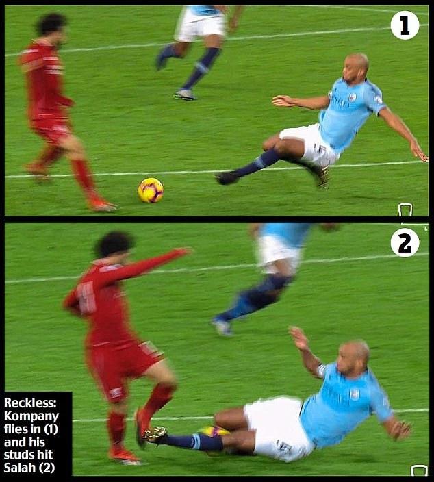 Tình huống vào bóng của Kompany với Salah