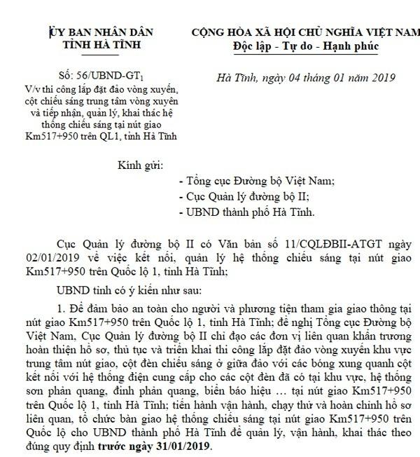 Công văn của UBND tỉnh Hà Tĩnh gửi Tổng cục đường bộ ngày 4/1/2019