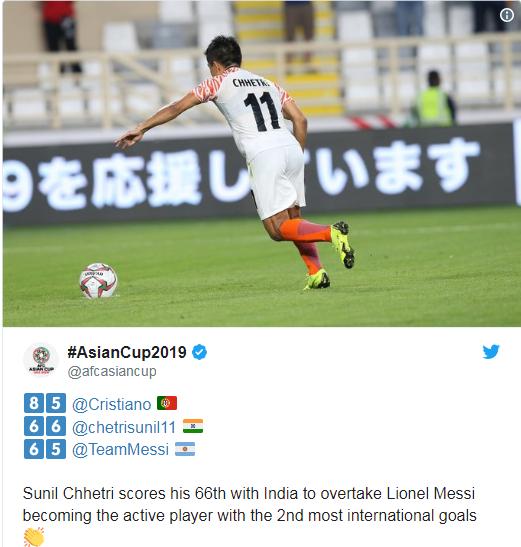 Sunil Chhetri có nhiều bàn thắng ở ĐTQG hơn Messi (thống kê của trang Twitter của Asian Cup 2019)