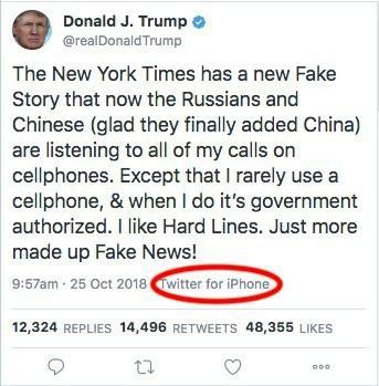 Đoạn tweet ông Trump phủ nhận việc dùng iPhone, được đăng từ một chiếc iPhone.