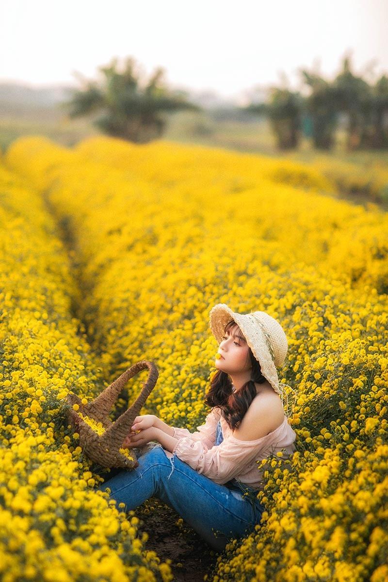 Nàng thơ tuổi teen khoe sắc giữa vườn hoa cúc vàng - Ảnh 6.