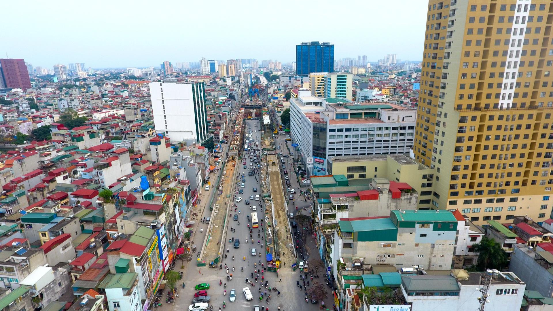 Đại công trường trên cao 9.400 tỷ xuyên đường cong mềm mại ở Hà Nội - 2