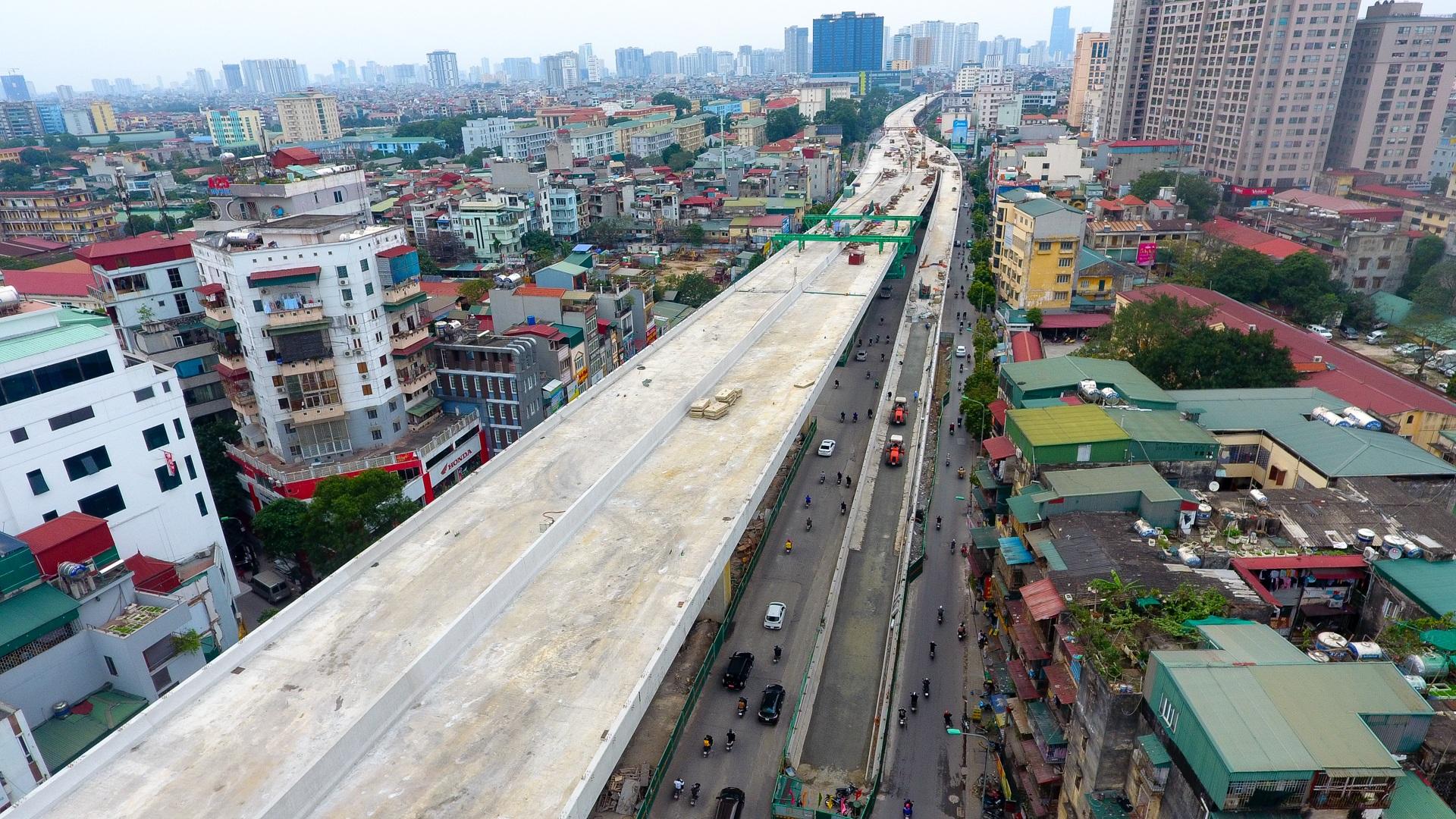 Đại công trường trên cao 9.400 tỷ xuyên đường cong mềm mại ở Hà Nội - 14