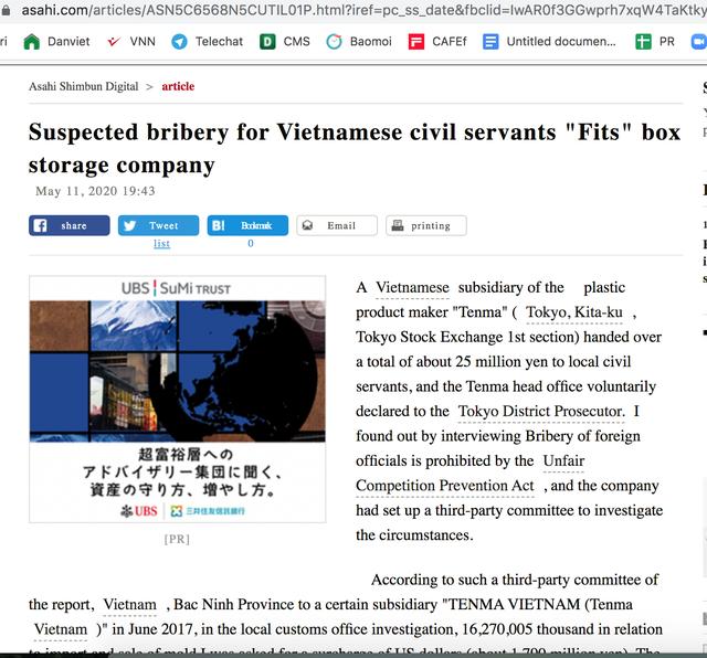 Nghi án doanh nghiệp Nhật hối lộ công chức VN
