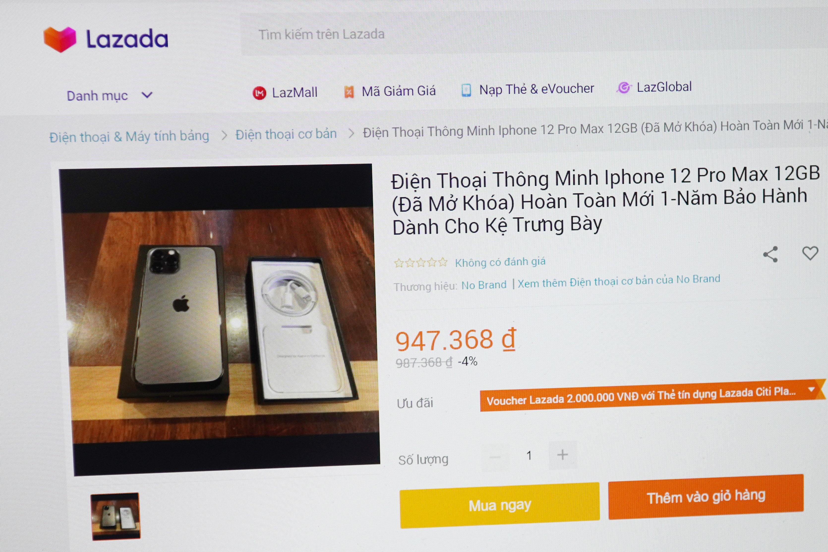 iPhone 12 Pro Max, Galaxy Note20 giá hơn 900.000 đồng tràn lan trên Lazada