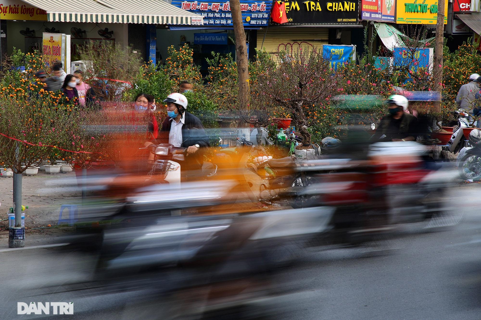 Chợ hoa bày bán trên đường phố Hà Nội đông khách bất chấp dịch Covid-19 - 13